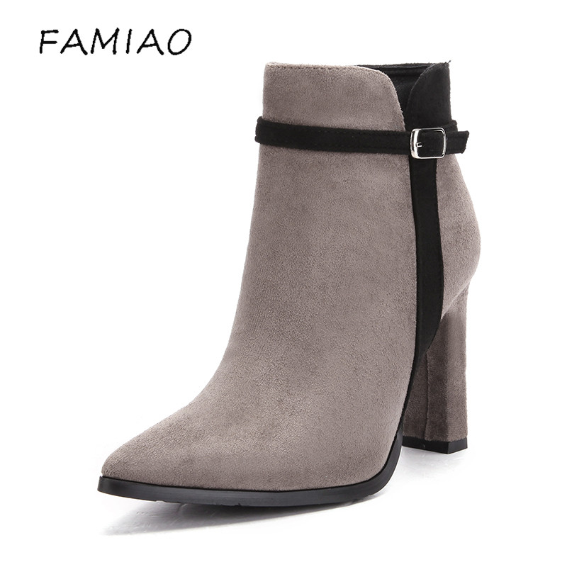 FAMIAO women boots sexy high heel zapatos mujer tacon 2017 gary black buckle ankle boots for women shoes pointed toe winter women t strap moccasins flat shoes low heel sandals black gray pink pointed toe ballet flats summer buckle zapatos mujer z193