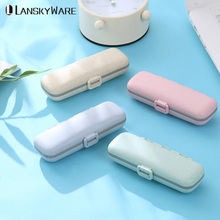 LANSKYWARE Portable Medicine Pill Box For Travel Kitchen Storage Container Wheat Straw Organizer With Compartments