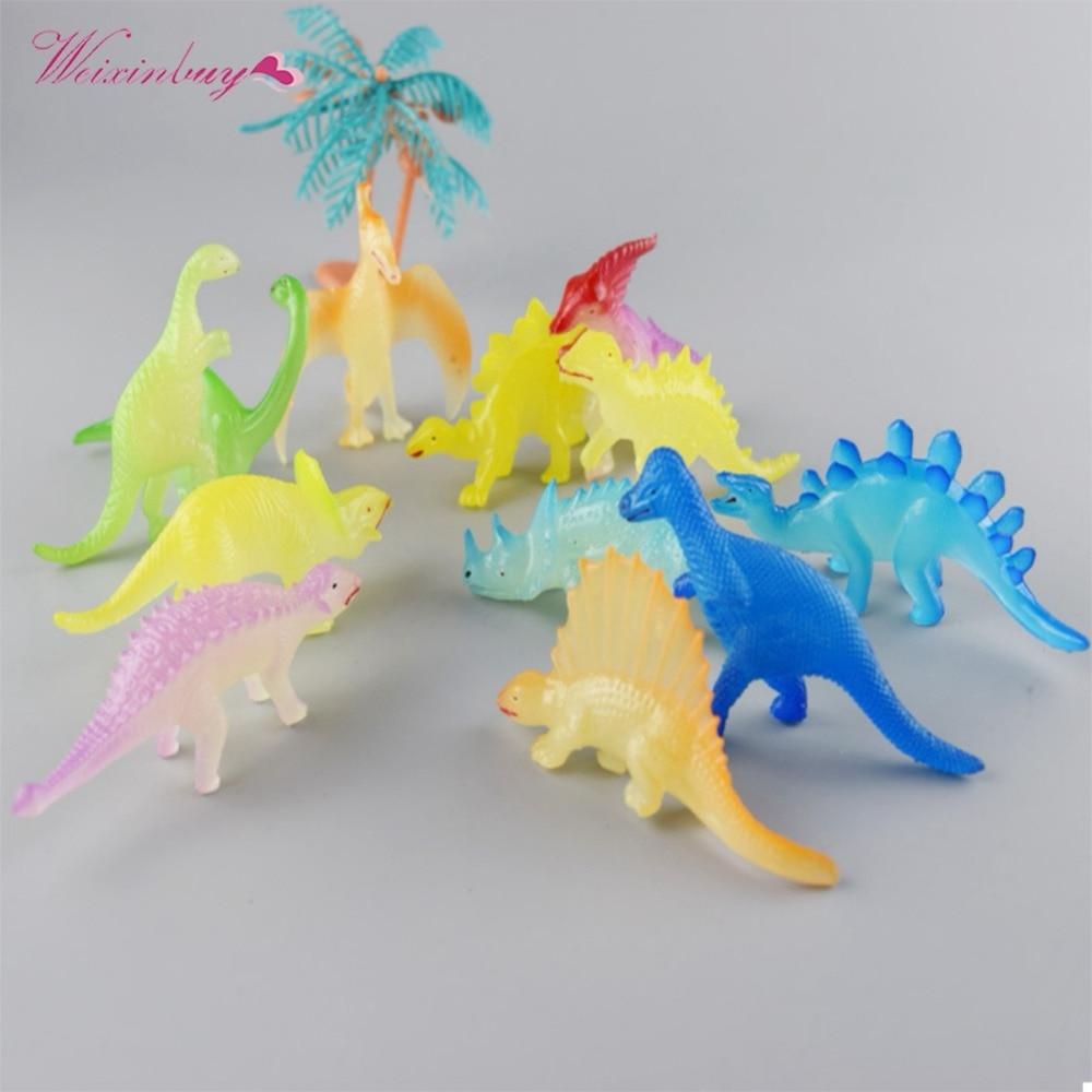 12 teile/los Barrel Leucht Dinosaurier Spielzeug Kunststoff Spielen Spielzeug Glow Licht Dinosaurier Modell Action & Figures Geschenk für Kinder Hohe qualität