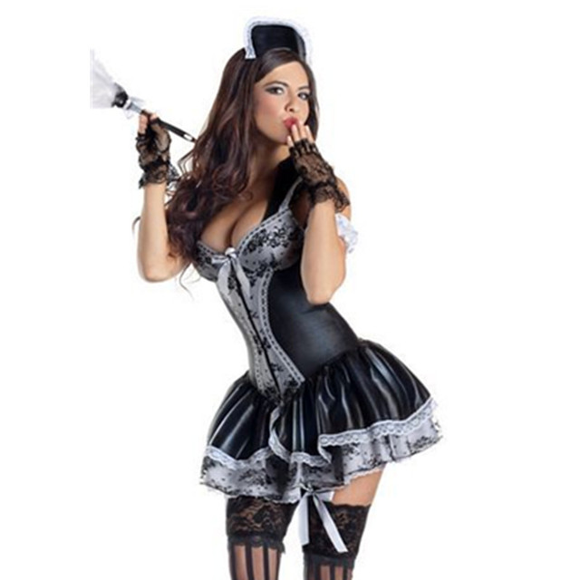 Sexy French Maid Uniform Fancy Lolita Light Tone Maid Dress Black