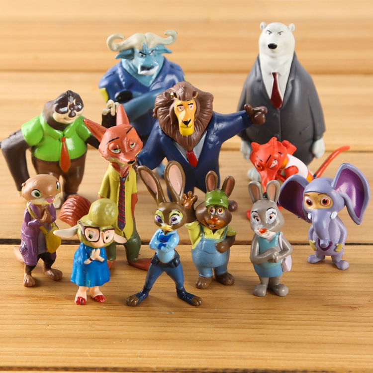 mylb Toys 12pcs/Lot 4-8cm Zootopia Action Figure Doll Pvc Zootopia Figure Toys Rabbit Judy Cop Fox Nick Cartoon Brinquedos image