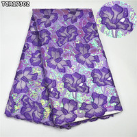Shiny sequins purple super high class Swiss lace voile fabric luxury African cotton lace fabric for bridal wedding dressTCR17302
