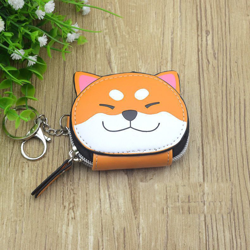 Boys Girls Cartoon Anime Inu Shiba Dog Brown Doge Style Coin Purse PU Bag With Key Chain Gift