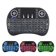 2.4G I8 Mini Wireless Keyboard Rusia Spanyol LED Backlit Udara Mouse dengan Touchpad untuk Smart TV Google Android TV box PC PS3/PS4(China)