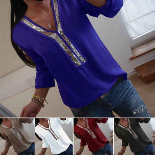 Moda kadınlar bayanlar uzun kollu gevşek bluz yaz v yaka Casual gömlek Tops giyim payetli katı rahat yumuşak giysiler