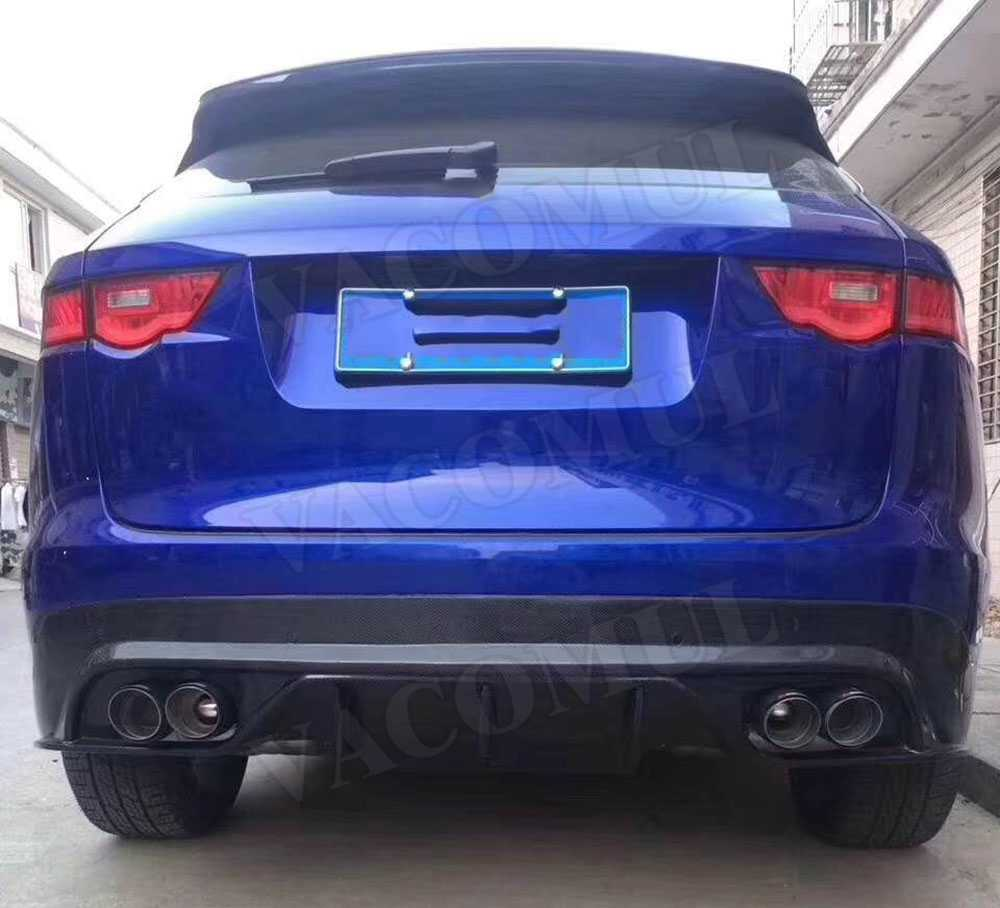 hight resolution of  carbon fiber rear bumper lip diffuser with steel exhaust muffler tips for jaguar f pace