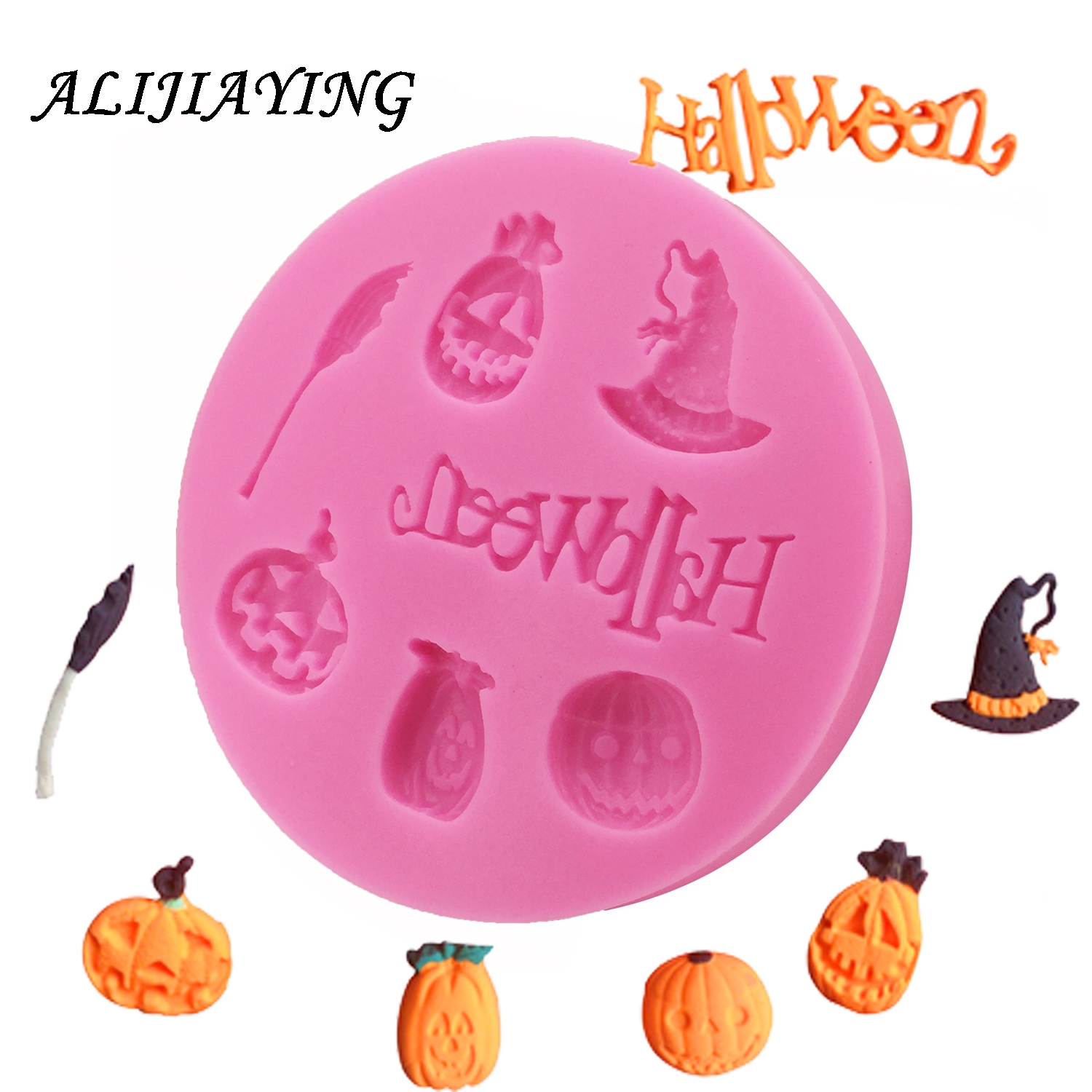 Hot Selling Halloween Pumpkin witch hat broom Silicone Mold Fondant DIY cake Decorating Tools D0016
