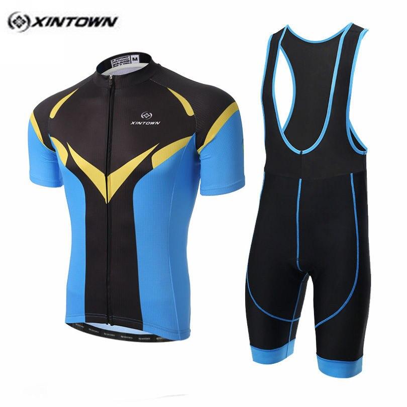 2017 XINTOWN Yellow Bike Jersey bib shorts Set Men Cycling Clothing Racing Shirt Ropa Ciclismo mtb Bicycle blouse Black Blue-in Cycling Sets from Sports & Entertainment    1