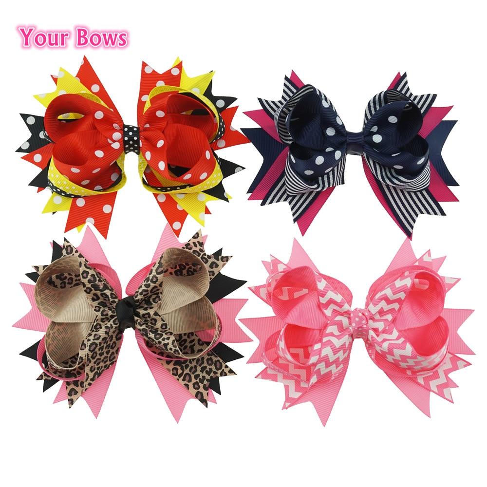 Your Bows 5.5 Inches Cute Hairpin Girls Hair Bows Striped Ribbon Bows Hair Clips Headbands Girl Headwear Kids Hair Accessories