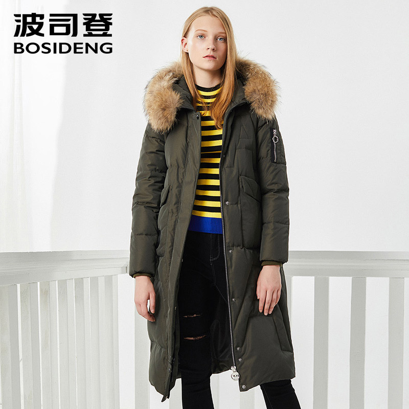 BOSIDENG winter new   down     coat   long parka natural fur collar women   down     coat   thicken outwear X-Long high quality B70141138