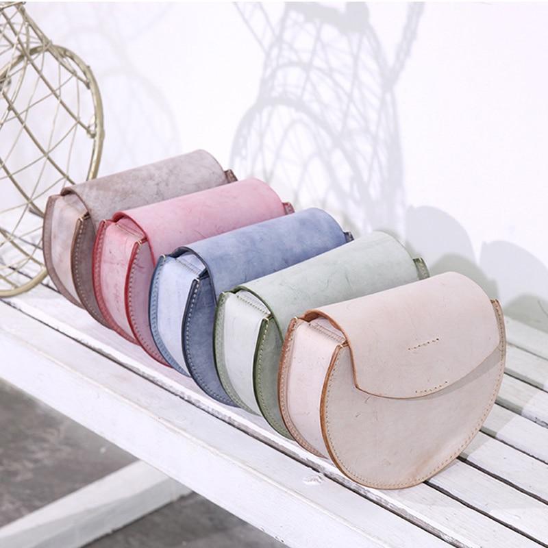 YIFANGZHE bolso de mensajero de cuero genuino para mujer, bolsos de hombro Retro de cuero real con diseño de semicírculo-in Bolsos bandolera from Maletas y bolsas    1