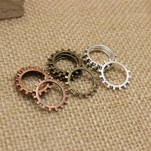 Three color Vintage Metal Alloy Machinery Gear Jewelry steampunk Charm Jewelry Findings (100 pieces/lot) 20mm T0196