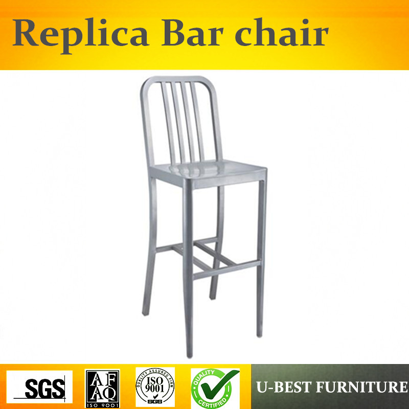 U-BEST Industrial aluminum Welded Navy barstool,Hospitality furniture restaurant cast aluminum barstool