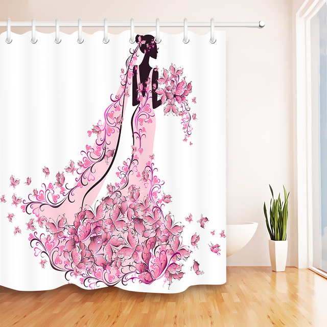 Lb Afro African American White Shower Curtains With Mat Set Pink Flower Erfly Bathroom Curtain
