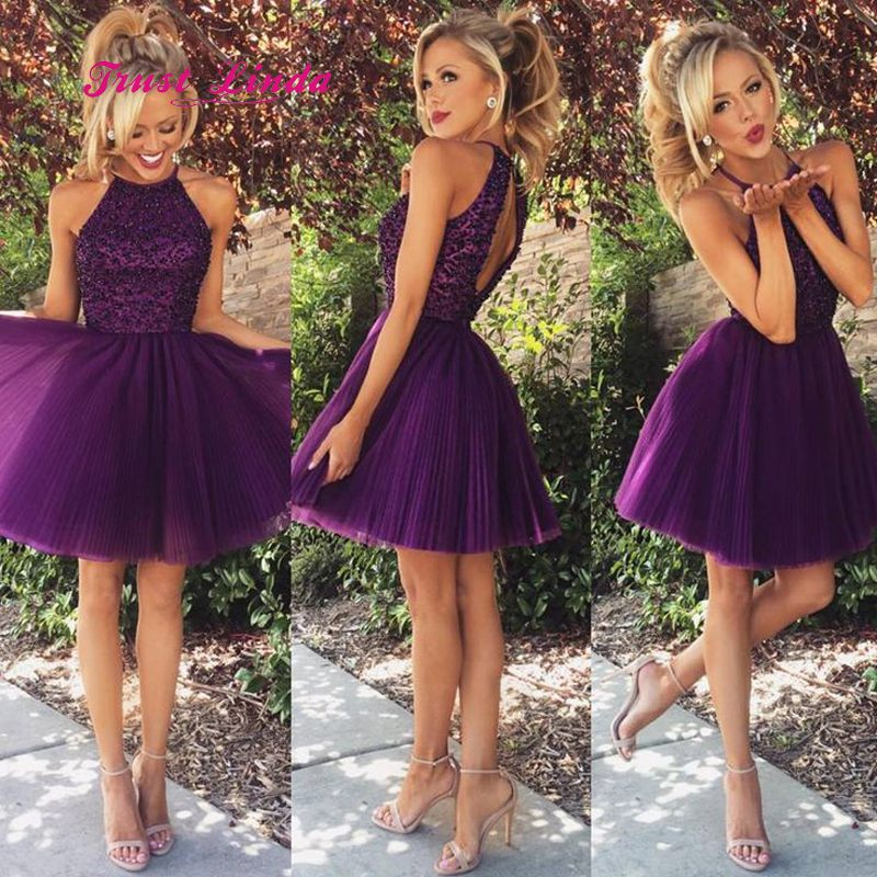 Elegant Short Dress For Wedding Party Halter Top Open Back Beaded Wedding Party Dress Purple Bridesmaid Dresses Short