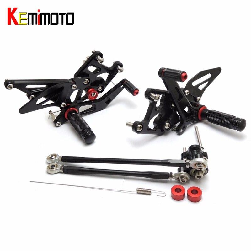 CNC Rearsets Ajustáveis KEMiMOTO 2007-2012 CBR600RR Pé Descanso Para Honda CBR 600 RR 2007 2008 2009 2010 2011 2012 7075 alumínio