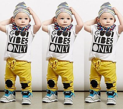 5b0b534c4 Casual Quotes Print Toddler Baby Boy t-Shirt Pants Outfit Clothes Set Size Baby  Boys