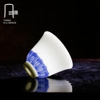 Jingdezhen blue and white porcelain teacup wine kung fu tea set retro tea cup xicara ceramic bone china bell shape drinkware