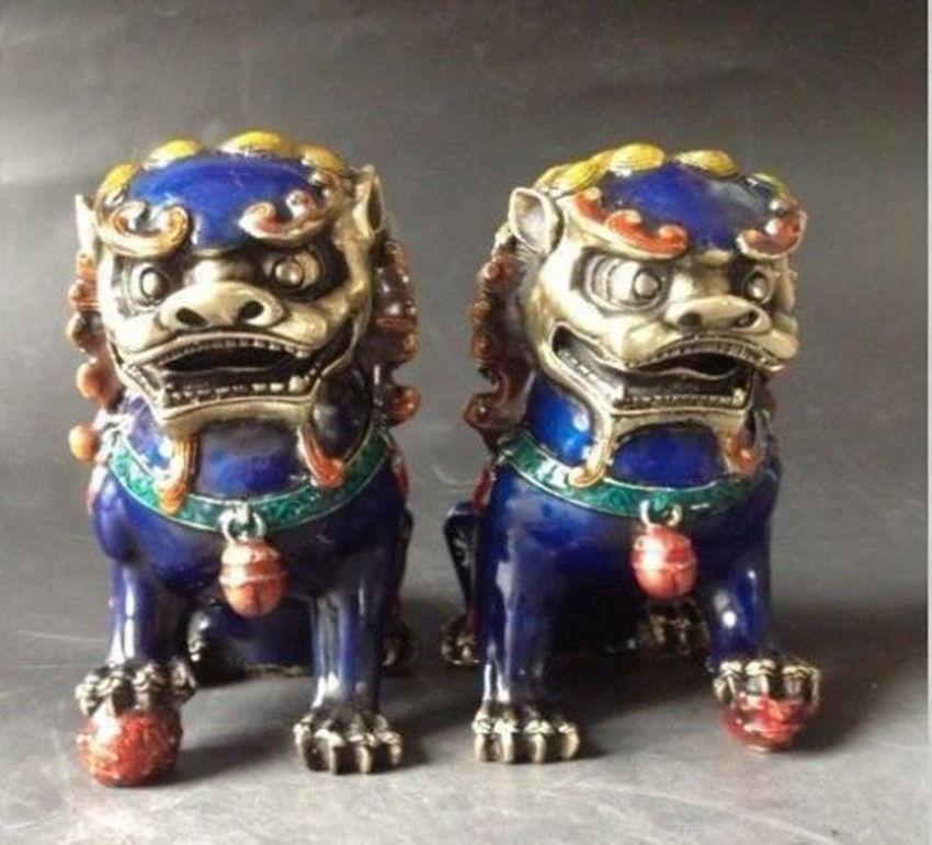 ᗚПара Китайский перегородчатой Медь статуя-Лев Foo Dog - a32