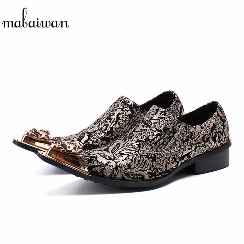 Mabaiwan Fashion Men Casual Shoes Slipper Gold Metal Pointed Toe Loafers Dress Shoes Men