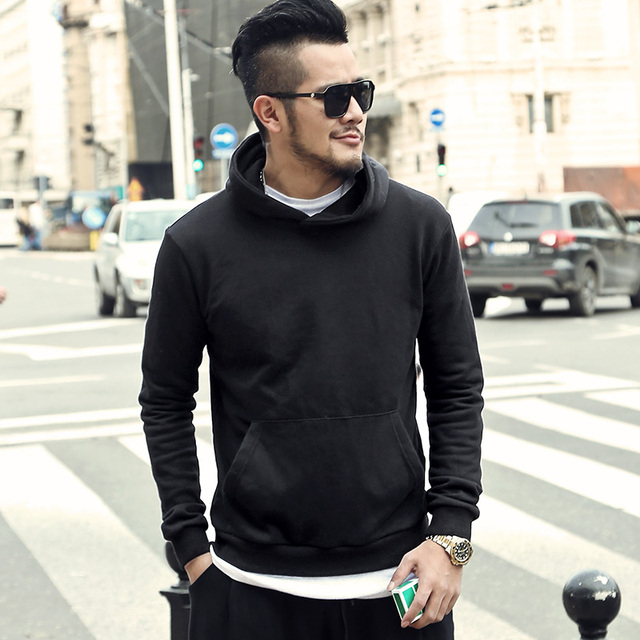 Men new autumn cotton black turtleneck hoodies men casual fashion hat brand design European style hoodies men top quality F017