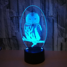 Сова 3d визуальная иллюзия Лампа Прозрачный Акриловый ночник Светодиодная Фея лампа Изменение цвета сенсорный стол Bulbing Lambas