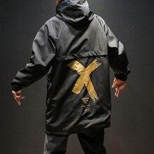 US Size Jackets Men Streetwear Long Hooded Jacket Autumn Coat Windbreaker Casual Male Plus S-5XL DG19