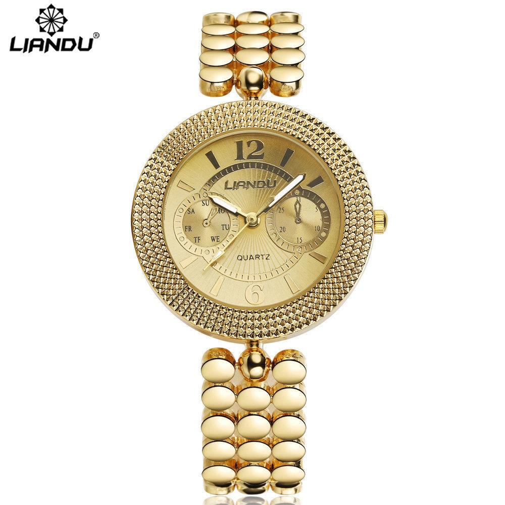 Prix pour LIANDU Mode Femme Dames De Luxe Or Quartz Montres Femmes Célèbre Marque Strass Montres Relojes Mujer Montre Femme