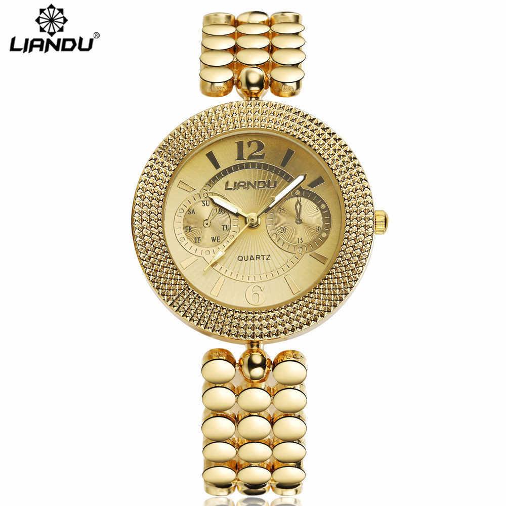 LIANDU Новый Мода Дамы Роскошные Золотые Кварцевые Наручные Часы Женщины браслеты женские Известная Марка Горный Хрусталь Часы Relojes Mujer Montre Femme наручные часы мужские