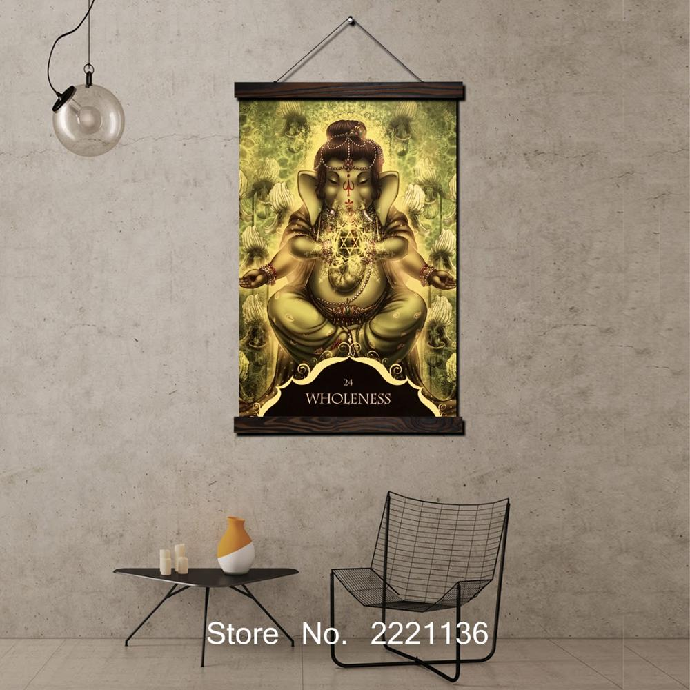 Us 11 93 27 Off Shri Ganesh Lord Ganesha God Scroll Painting Hd Wall Art Hanging Canvas Painting Hd Printed Pictures For Living Room Decoration In