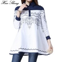 Spring Autumn Women Casual Blouse Turn Down Collar Floral Embroidery Shirt Slim A Line Patchwork Large