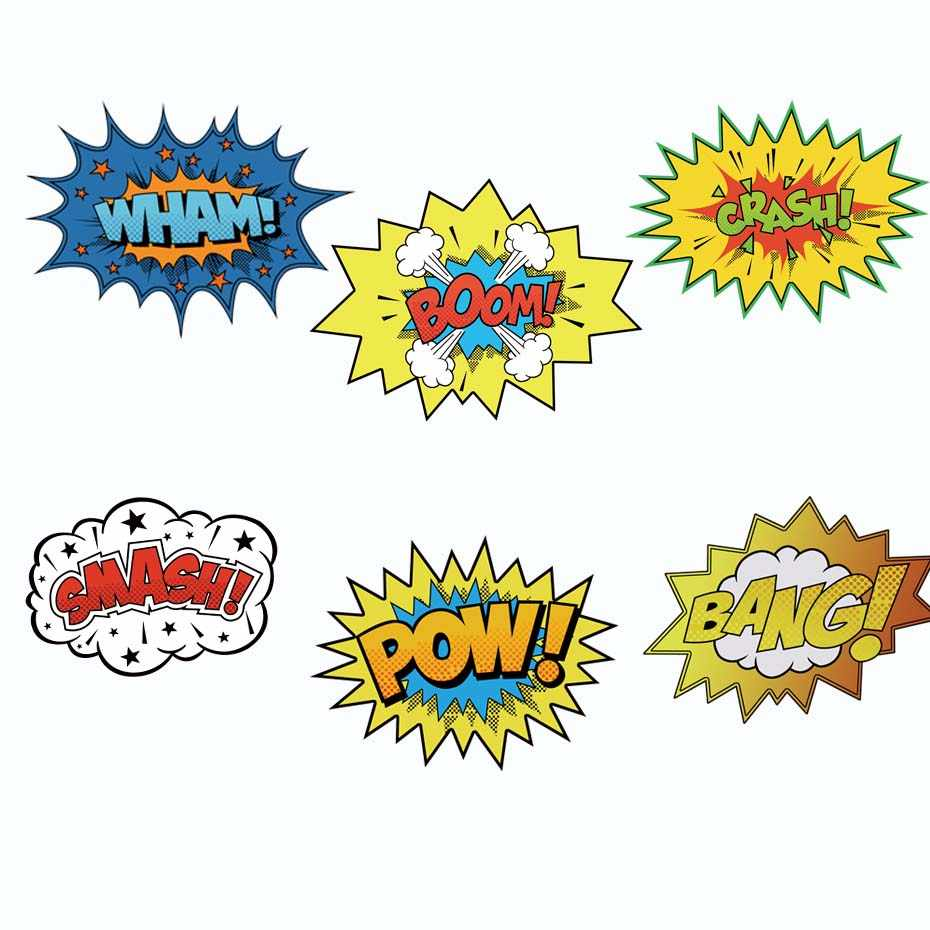 Colorful cartoon pow quote laptop decals boom creative patterns stickers windows car body door toilet decoration