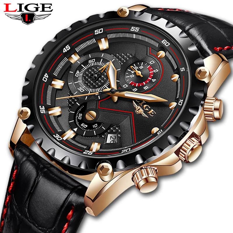 LIGE Mens Watches Top Brand Luxury Male Military Sport Luminous Watch men Business quartz-watch Male Clock Man Relogio Masculino original guanqin men watches luminous luxury mens quartz watch sport leather male watches sapphire clock relogio masculino reloj