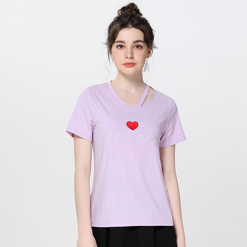 Fashion summer embroidery t shirt women Heart-shaped short sleeve tees high quality hollow out collar cotton female t-shirt tops