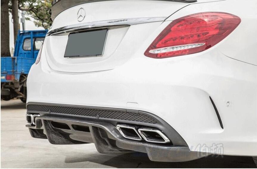 Plaque de protection de pare-chocs arrière de voiture en fiber de carbone adaptée à la classe Benz W205 C63 4 portes C200 C260 C300 par EMS