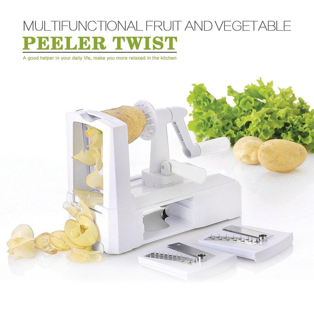 2016New Kitchen Tool 3 in 1 Slicer Julienne Cutter Spiral Vegetable Slicer Spiralizer Fruit Veggie Chopper Cutter Twister Peeler
