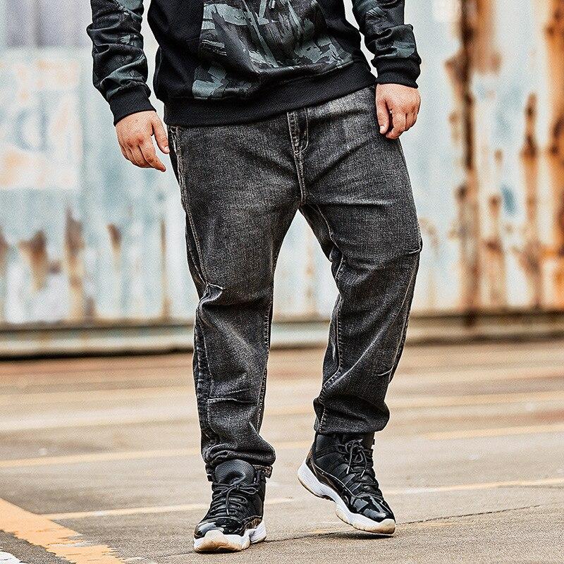 Hiver hommes grande taille Plus polaire épais Jeans lettre broderie noir gris graisse lâche droite Denim chaud pantalon mâle bleu vêtements
