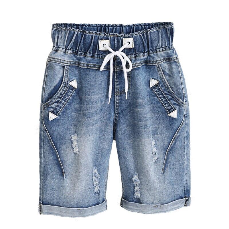 Plus Size 4XL 5XL Capris Lace Up Denim   Jeans   Woman Summer Midi Harem Pants Trousers Women Stretch Ripped   Jeans   For Women C3200