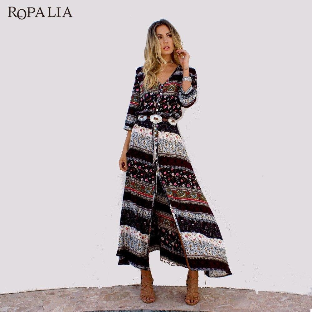ROPALIA Boho Female Dress Women Half Sleeve Floral Print V-neck Vintage Dress Casual Summer Beach Long Maxi Dresses Vestidos