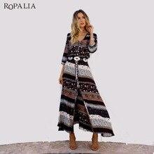 ROPALIA Boho Женское платье Для Женщин Половина рукава Цветочный принт v-образным вырезом Винтаж платье Повседневное летние пляжные длинные Макси Платья Vestidos