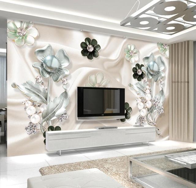 Beibehang Wallpaper Kustom Diamond Sutra Bunga Perhiasan Latar Belakang Ruang Tamu R Tidur Tv Sofa