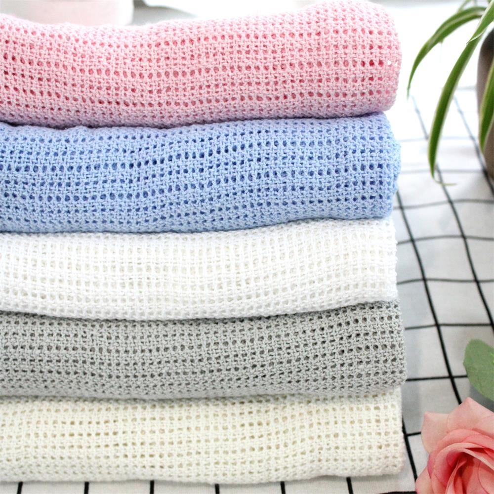 76X100cm Super Soft Cotton Crochet Hole Thin Summer Wrap Baby Knitted Blanket Toddler Kids Back Seat Cover Baby Deken Crib Cover