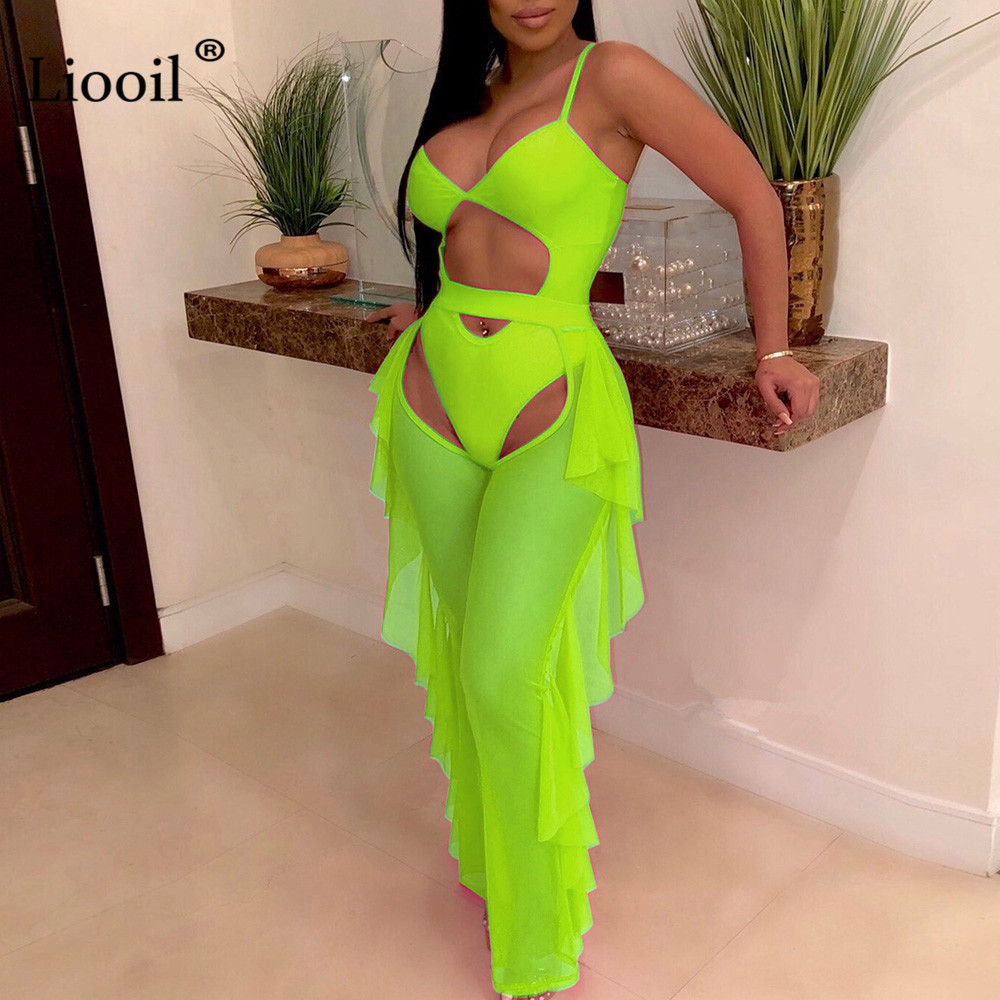 Liooil Mesh Two Piece Club Set Women 2019 Sexy Top And Pants V Neck Neon Green 2 Piece Ruffle Outfits Set Plus Size Matching Set