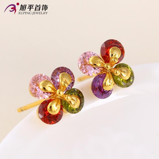 0.8cm*0.8cm jewelry 6 colors sweet CZ diamond flower color zircon jewelry earrings female fashion OL earrings gold plated 24K