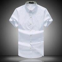 Plus Size 8XL Mens Dress Shirts 2017 New Design Fashion Cotton High Quality Short Sleeve Casual