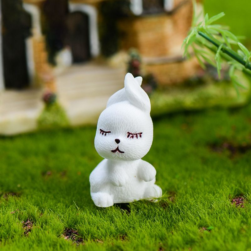 3Pcs Set Modeling Cute Moe Rabbits Resin Figurine Home Garden Ornament Micro Landscape Craft Plant Pot Fairy DIY Decor in Figurines Miniatures from Home Garden