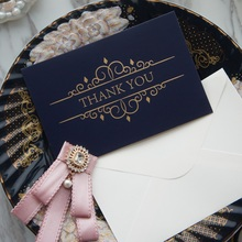 gold 25pcs deep blue Window thank you Card with envelope greeting card wedding birthday party invitation DIY Decor gift