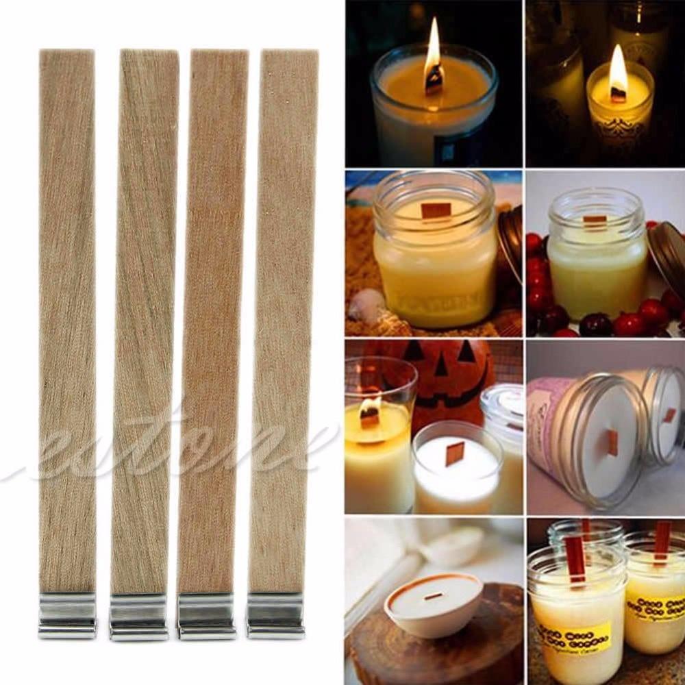 10 Stücke 12,5mm X 150mm Kerze Holz Docht Mit Erhalter Tab Kerze Machen Versorgung Dropshipping Chinesische Aromen Besitzen Kerze-zubehör Brieftaschen Und Halter