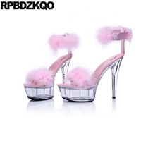 Open Toe Heels Plus Size Gothic Stripper Fur Pumps Women Fluffy Platform Furry High Shoes 11 Stiletto Glass Ankle Strap Sandals