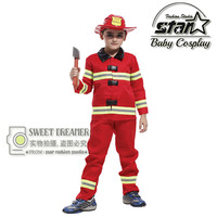 Halloween Children Kids Fireman Costume Role Playing Stage Performance Funny Clothing Firefighters Fire Team Cosplay For Boys